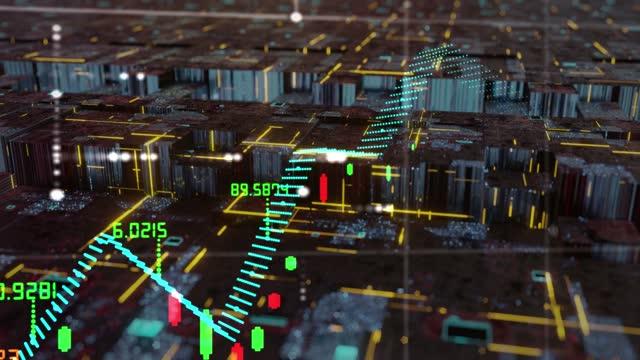 株式市場のオシレーター仮想レタリング - イーサリアム点の映像素材/bロール