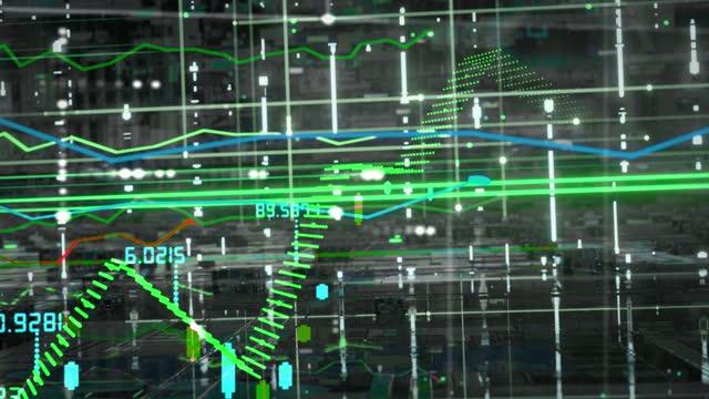 株式市場のオシレーター仮想レタリング - ピア・ツー・ピア点の映像素材/bロール