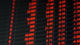 Stock market price board in economic crisis.