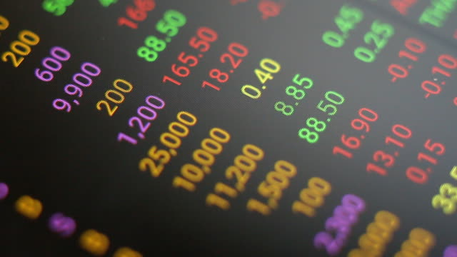 stock market tickers. loopable. green and red - trading board stock videos and b-roll footage