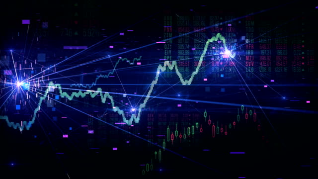 stock market tracking shot (multi colored) - loop - trading stock videos & royalty-free footage