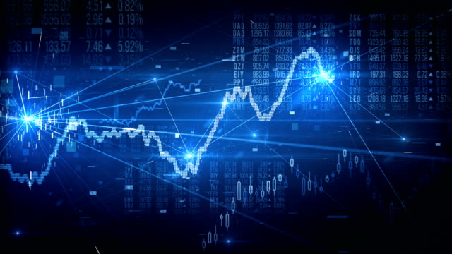 stock market tracking shot (blue) - loop - big data video stock e b–roll