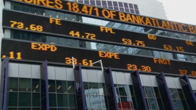 MS LA PAN Stock market trading board on glass building / New York City, New York, USA