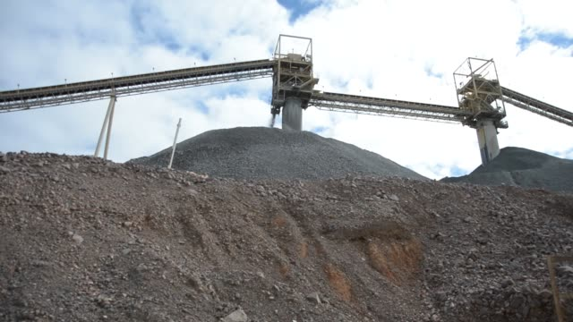 Stock piles of copper ore are created from freshly mined rock at Rio Tinto's copper block cave mine / Stock piles of copper ore at Rio Tinto Copper...