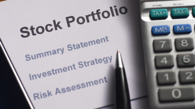 stock portfolio desktop scene. - pension stock videos & royalty-free footage