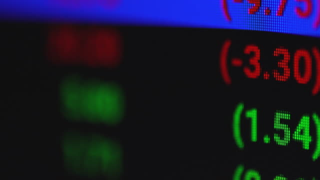 stock price ticker on monitor rack focus - trading board stock videos & royalty-free footage