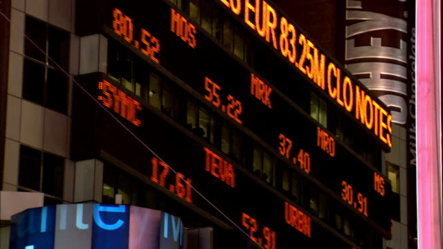 stock rates scroll across electronic tickers at the nyse. - new york stock exchange stock videos & royalty-free footage