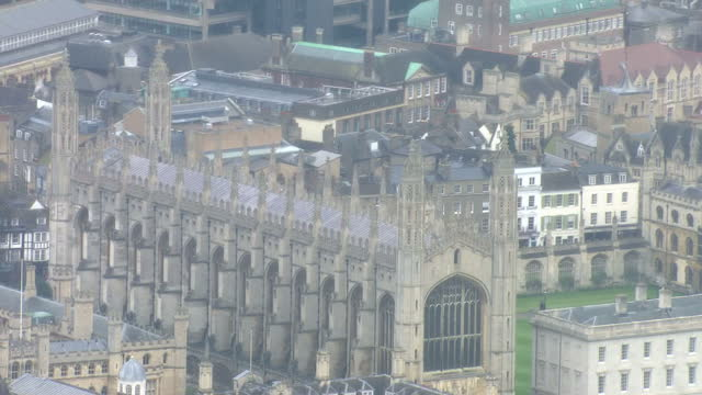 stock shot aerials of cambridge university showing clare college and the king's college chapel - king's college cambridge stock videos and b-roll footage