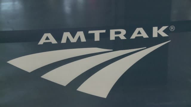 Stock shots of Amtrak trains passengers and Washington Union Station