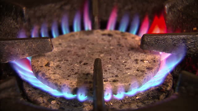 stock shots of flaming gas hob and blue gas burning in grill. - carbon monoxide stock videos & royalty-free footage