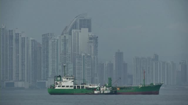 Stock shots of Panama City with shots of the city from the sea and shots showing the real estate boom in the city centre CLEAN Panama city stock...
