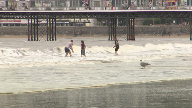 stock shots of people on beach and swimming in waters of bristol channel on cloudy murky day in westonsupermare on 31st july 2017 - weston super mare stock videos and b-roll footage