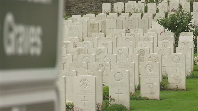 Stock shots of Redan Ridge Cemetery Number 3 named from The Redan a group of British frontline trenches of 1916 The cemetery was made by the V Corps...