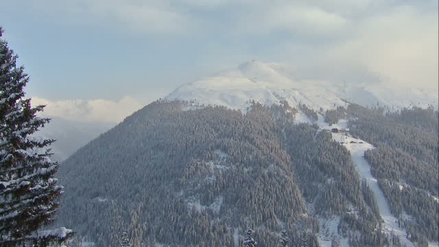 Stock shots of Rhaetian Alps and Davos a mountain resort in Graubunden where The World Economic Forum meets yearly