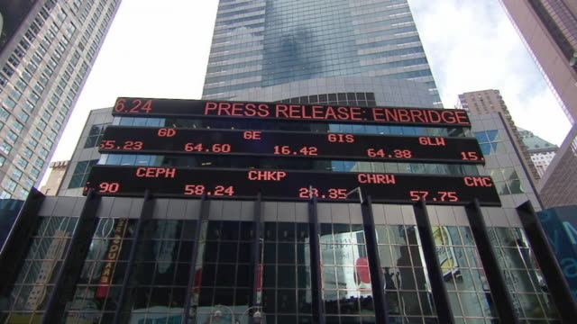 ws stock ticker board on morgan stanley building / new york city, new york, usa - kurstafel stock-videos und b-roll-filmmaterial