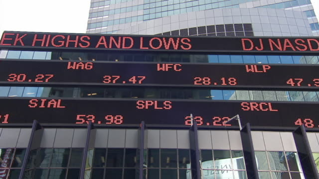 ms stock ticker board on morgan stanley building / new york city, new york, usa - trading screen stock videos & royalty-free footage
