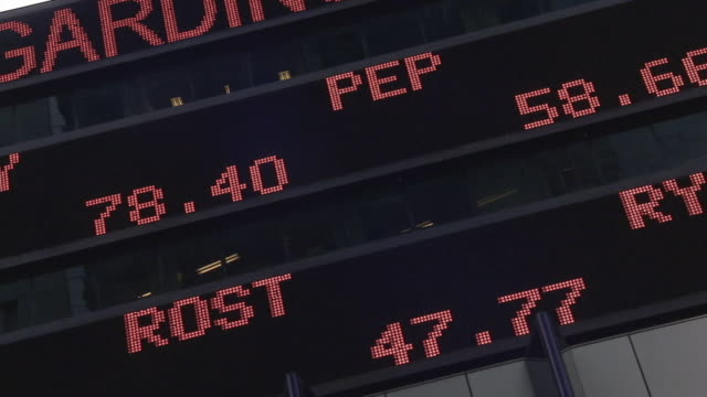 cu stock ticker board on morgan stanley building / new york city, new york, usa - trading screen stock videos & royalty-free footage