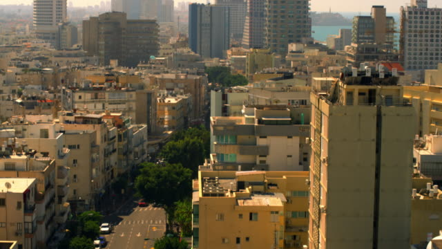 Stock Video Footage of a Tel Aviv cityscape with the Mediterranean shot in Israel at 4k with Red.