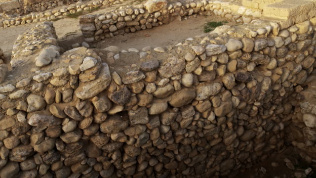 Stock Video Footage of an ancient wall at Tel Be'er Sheva shot in Israel at 4k with Red.