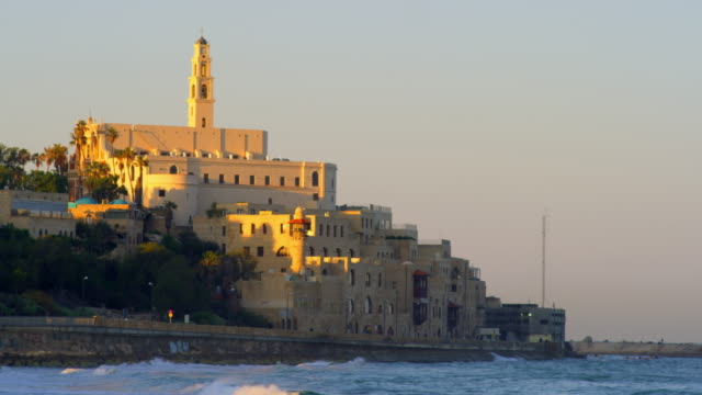 stockvideo's en b-roll-footage met stock video footage of st. peter's church on the coast of the mediterranean shot in israel at 4k with red. - jaffa