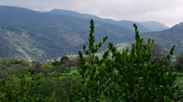 Stock Video Footage panorama of Nimrod Fortress on a hill shot in Israel at 4k with Red.