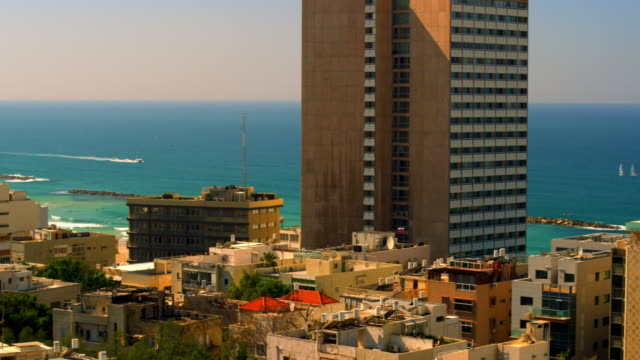 Stock Video Footage panoramic of the Mediterranean and Tel Aviv shot in Israel at 4k with Red.