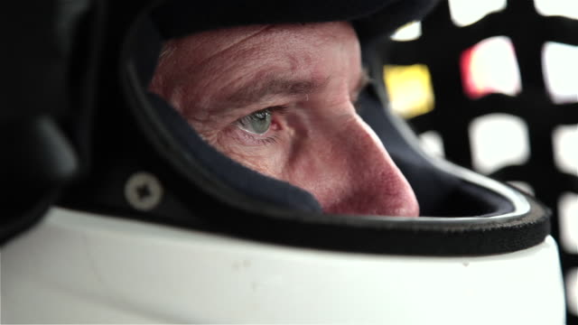Stock-car driver's eyes focus on race