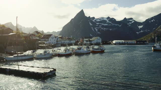 レーヌ、ロフォーテン諸島、ノルウェーのストックフィッシュ産業 - タラ点の映像素材/bロール