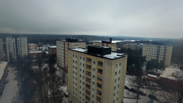 aerial: stockholm, a winter day - apartment stock videos & royalty-free footage