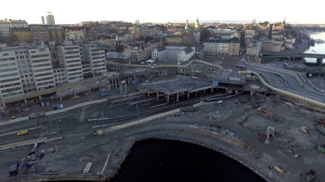 stockholm aerial view - wiederaufbau stock-videos und b-roll-filmmaterial