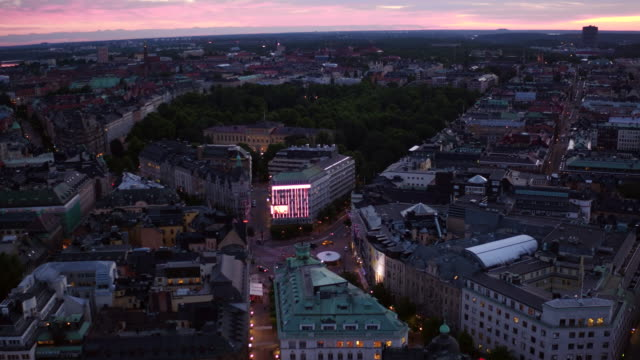 AERIAL: Stockholm city as the sun rises