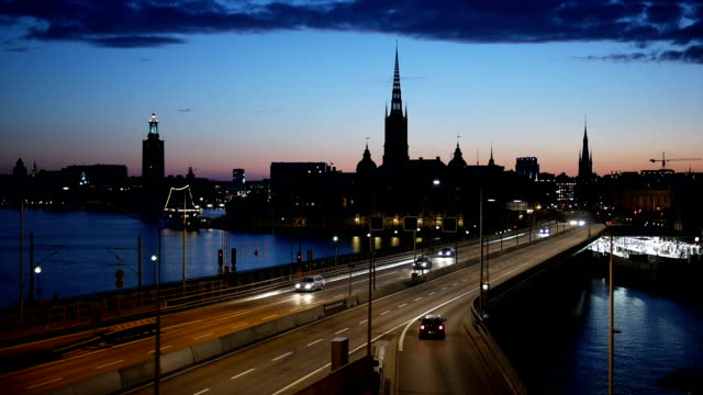 stockholm city at dusk slow motion - stockholm stock videos & royalty-free footage