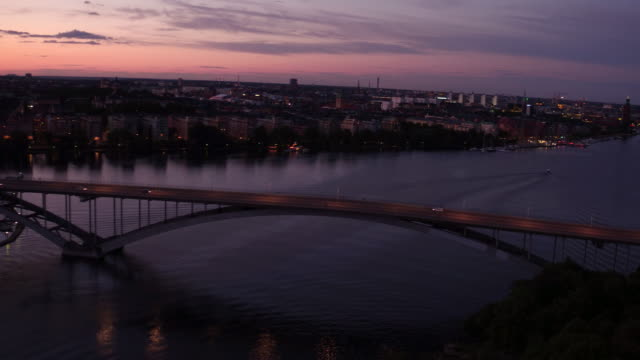 AERIAL: Stockholm city at sunset, the bridge Västerbron