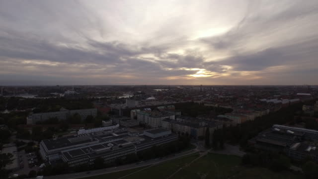 AERIAL: Stockholm city at sunset