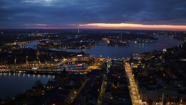 AERIAL: Stockholm city by night