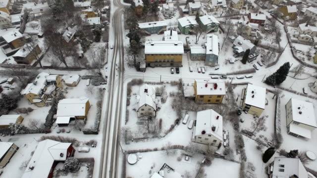 AERIAL: Stockholm city during winter, Älvsjö