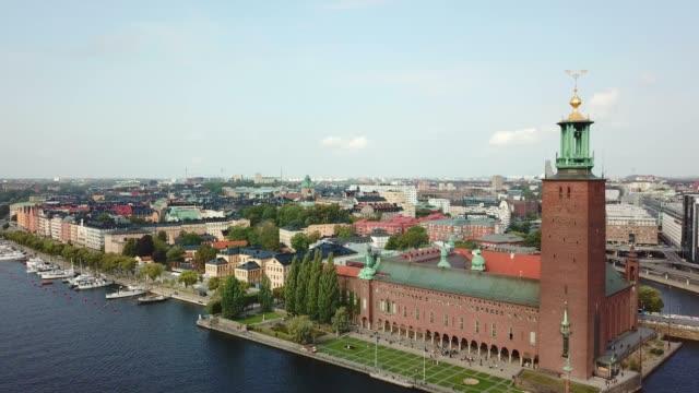 stockvideo's en b-roll-footage met stadhuis van stockholm, panning - europese cultuur