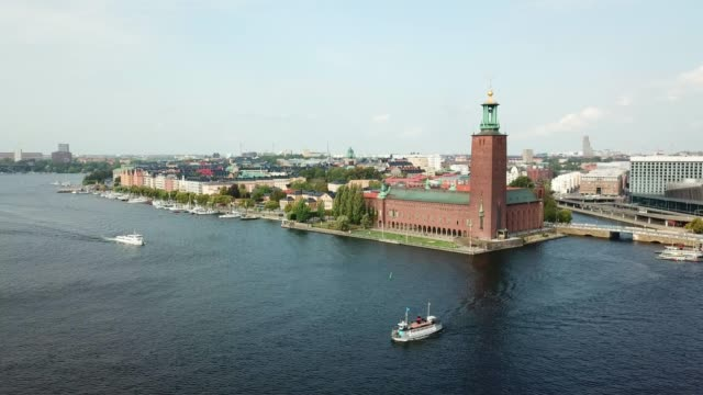 stockholm city hall, panning - swedish culture stock videos & royalty-free footage