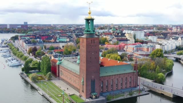stockholm city hall seen from air. here is where the nobel prize is handed out - town hall government building stock videos & royalty-free footage
