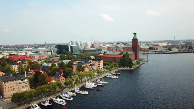 "stockholm city hall ""stadshuset"" seen from air. here is where the nobel prize is handed out - government building stock videos & royalty-free footage"