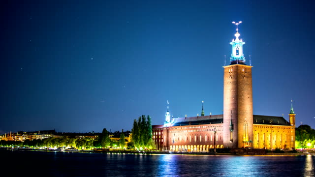 stockholm city hall time lapse - town hall stock videos & royalty-free footage