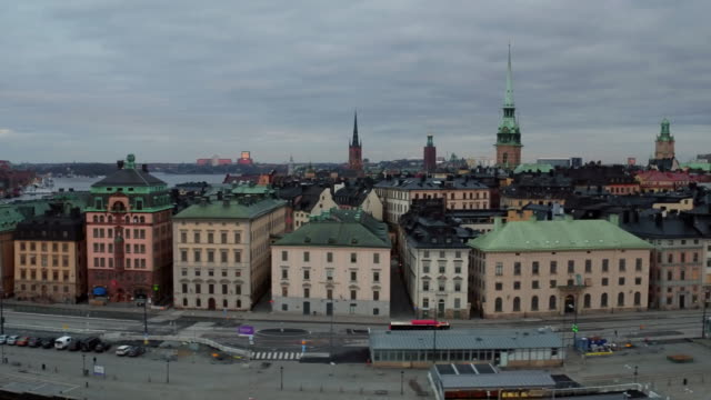 aerial: stockholm city, old town - svezia video stock e b–roll