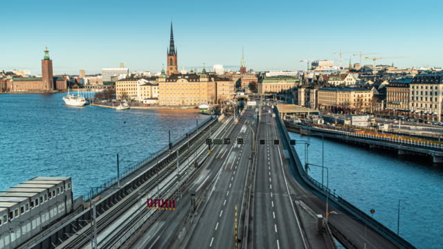 stockholm city skyline traffic time lapse day time - stockholm stock videos & royalty-free footage