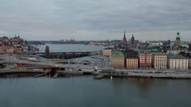 AERIAL: Stockholm city, Slussen and Old town
