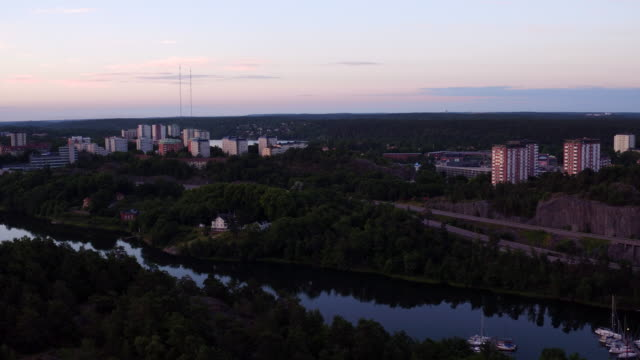 aerial: stockholm city - högt upp stock videos and b-roll footage