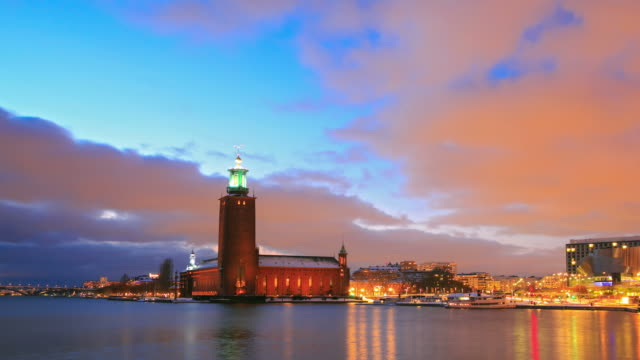 stockholm cityhall at dusk - old town stock videos & royalty-free footage