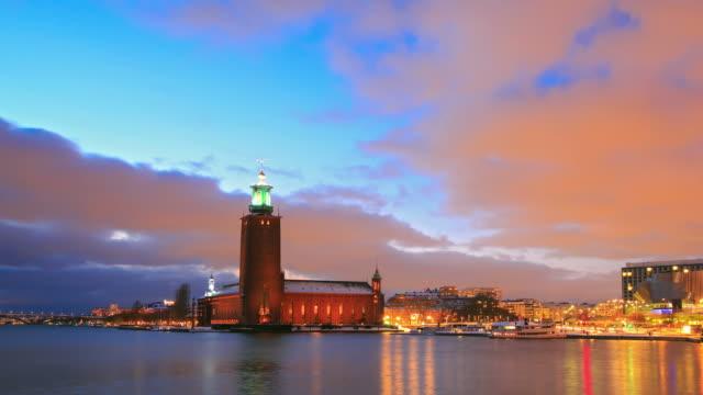 stockholm cityhall at dusk - stockholm stock videos & royalty-free footage