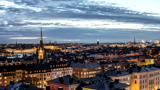 stockholm cityscape skyline time lapse - day to night stock videos & royalty-free footage