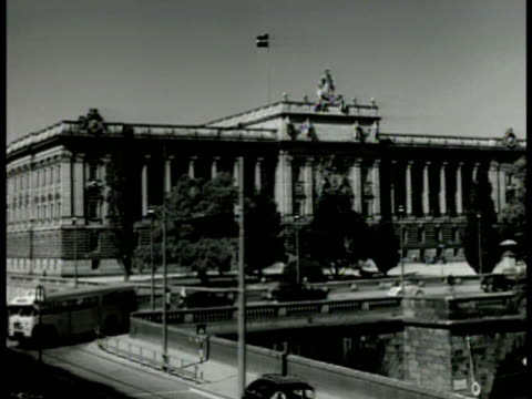 stockvideo's en b-roll-footage met stockholm ms foreign office building la ms swedish flag building sculpture int ws cabinet in meeting around long table ms prime minister tage... - 1949