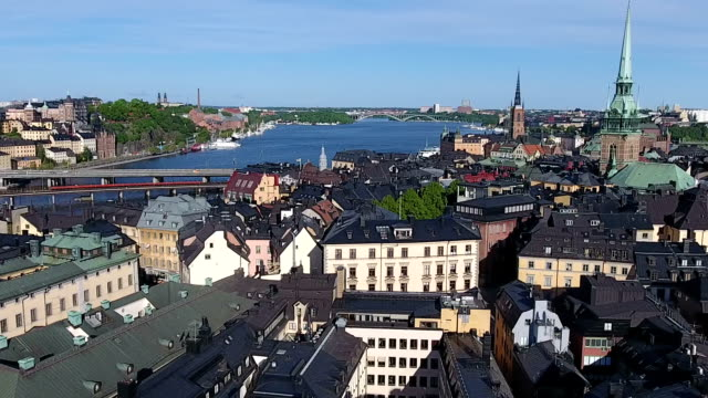 stockholm old city aerial view - old town stock videos & royalty-free footage